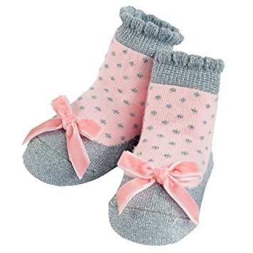 Silver Pink Bow Socks