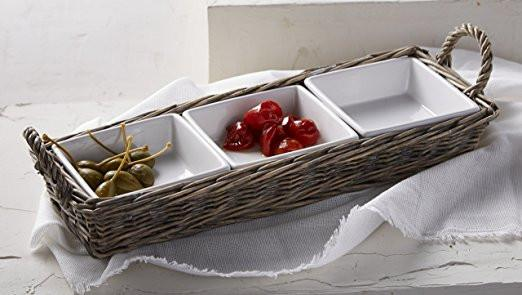 Mud Pie Triple Section Server In Willow Basket