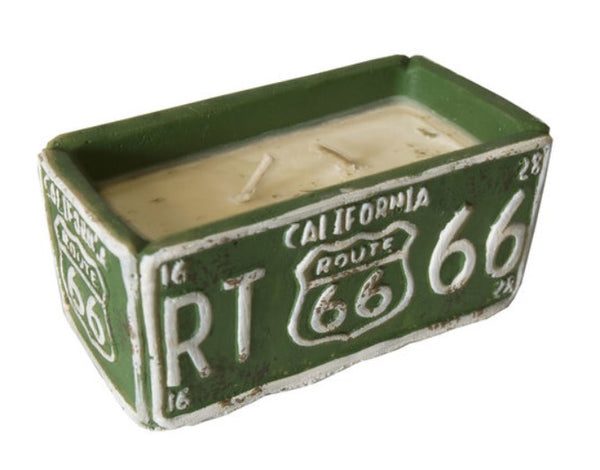 American Highway California License Plate Candle - Almond Milk & Tupelo Honey Scent 62896