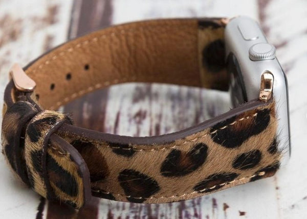 Animal Print Apple Watch Band Tan Leopard