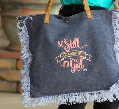 """Be Still and Know That I am God"" Tote Bag by Darling Custom Designs"
