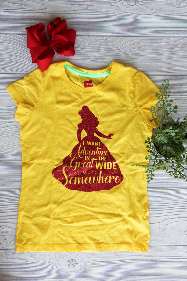 Belle Girls Ruffle Tee - Disney Princess Tee Darling Custom Designs