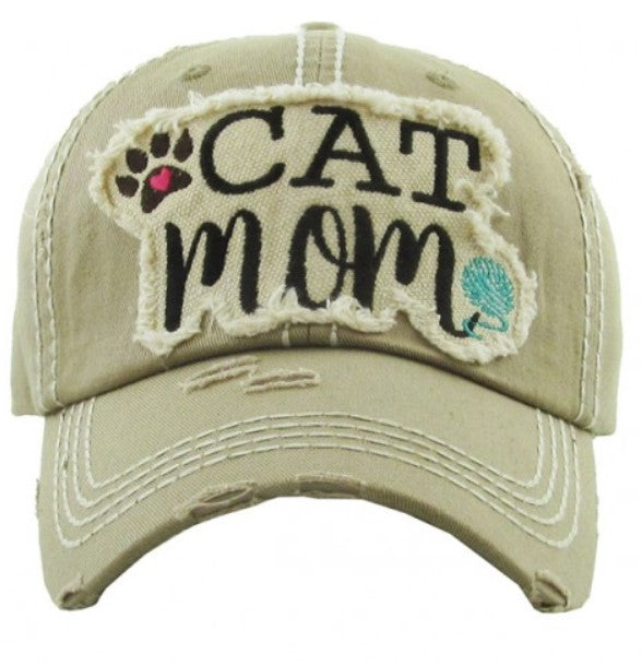 "Patch Cap ""Cat Mom"" Khaki"