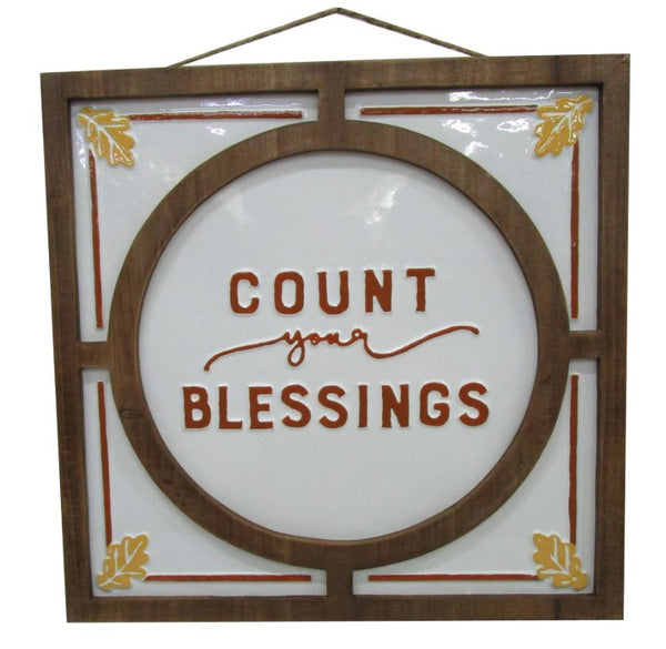 "Count Your Blessing Sign    Size 17.25"" x 17.25"""
