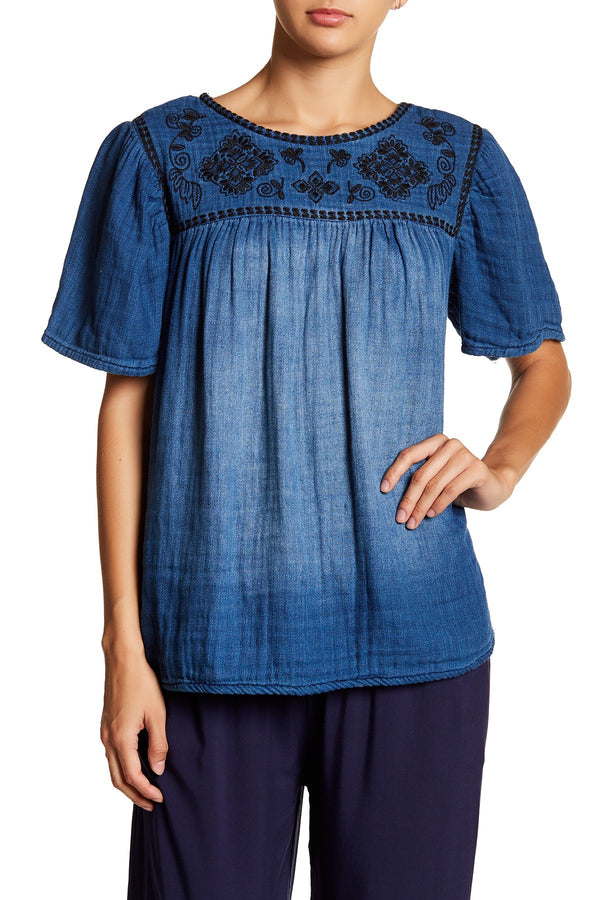 Denim Embroidered Blouse by Crimson in Grace