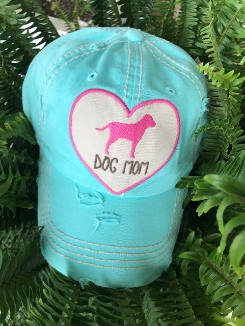 "Patch Cap ""Dog Heart Mom"" Aqua"