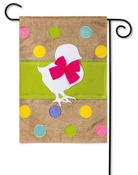Easter Chick Garden Burlap Flag by Evergreen