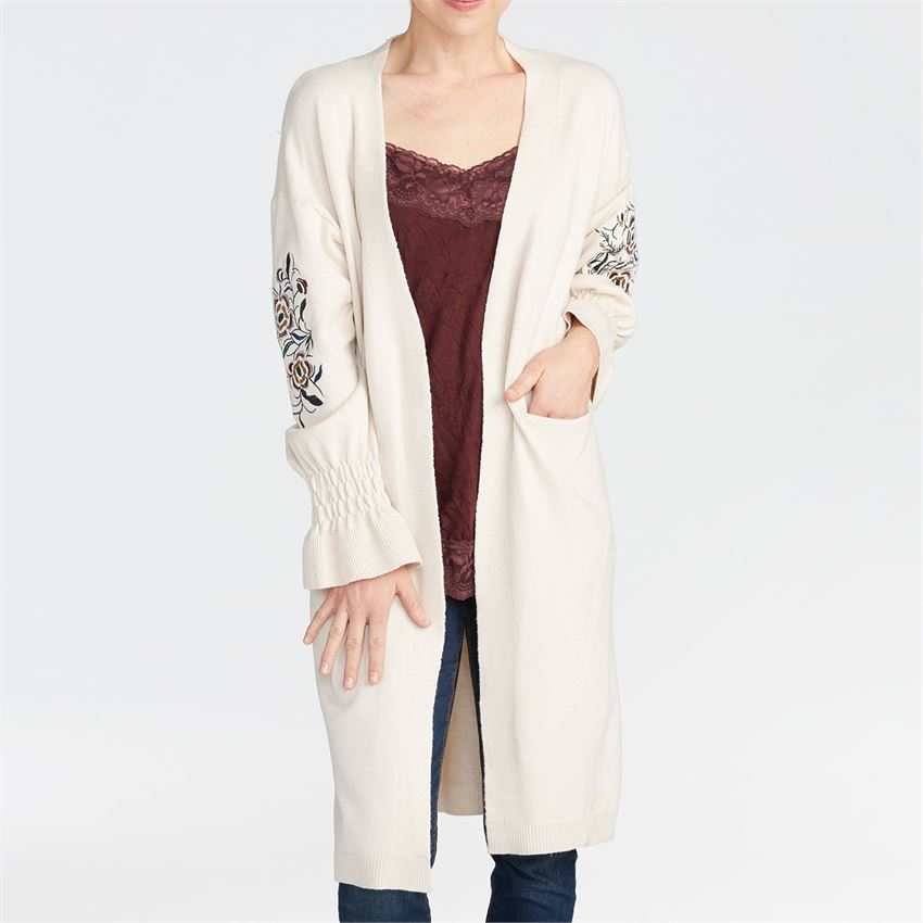 Coco + Carmen Embroidered Puff Sleeve Cardigan