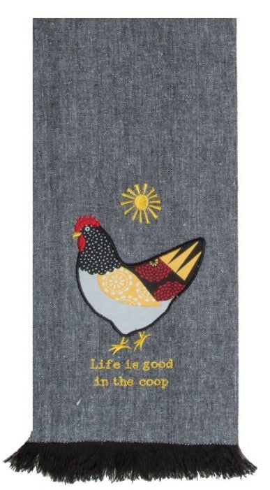 Farm Charm Chicken Theme Life Is Good In The Coop Cotton Applique Kitchen Tea Towel 18x28 from Kay Dee Designs
