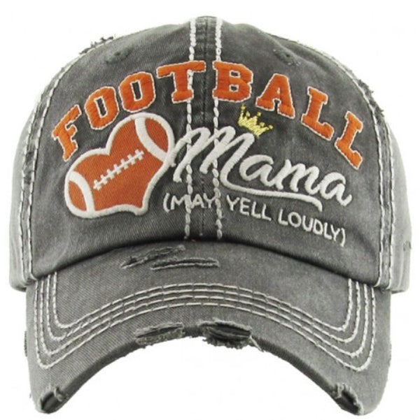 "Patch Cap ""Football Mama (May Yell Loudly"" Dark Grey"