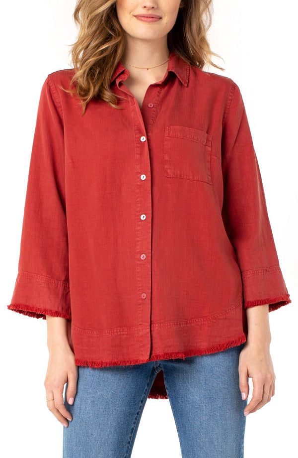 Liverpool Fray Hem Button Up Shirt Terra Rouge LM8090Y34