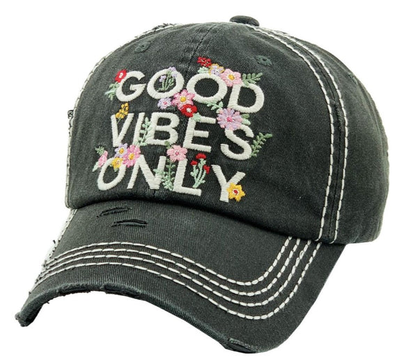 Patch Cap Good Vibes Only Black