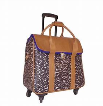 Hang Accessories Dot and Caramel Rolling Trolley Bag and Accessories