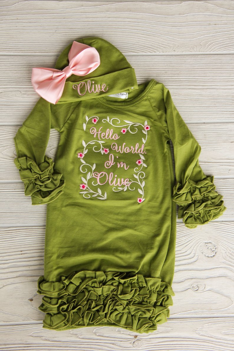 Hello World I'm Olive Newborn Gown Darling Custom Designs