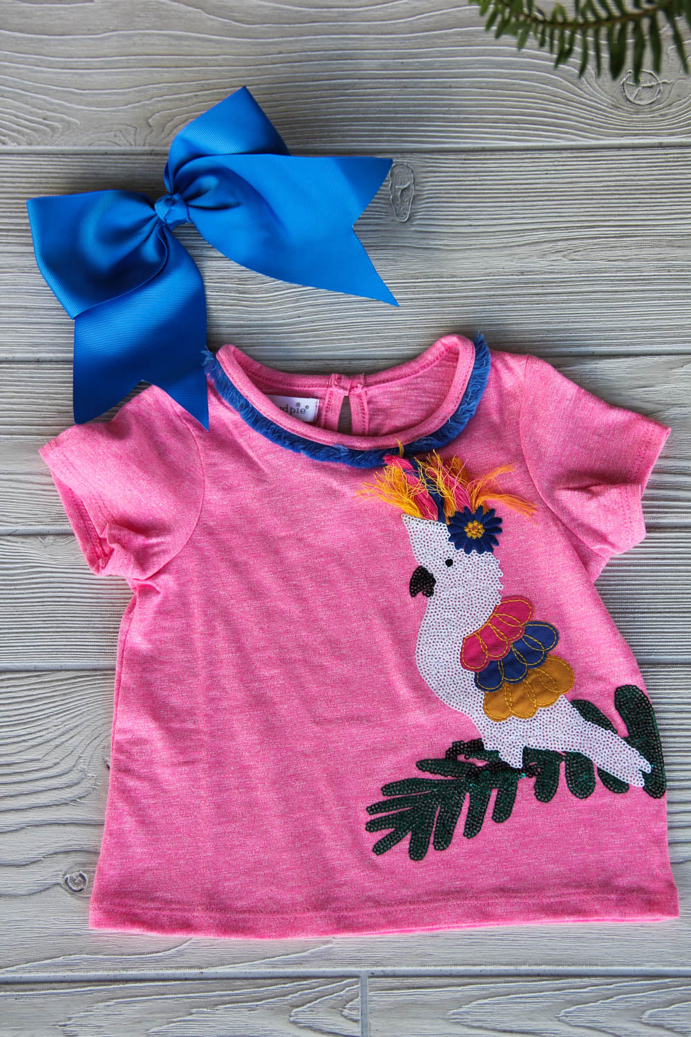 Tropical Sequin Bird Pink Top