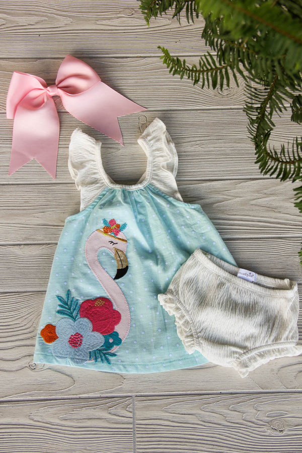 Little Flamingo Dress and Bloomers
