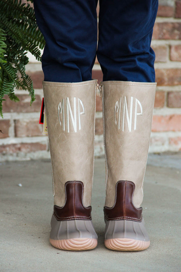 Tall Lace Up Monogrammed Duck Boots | Stone Grey