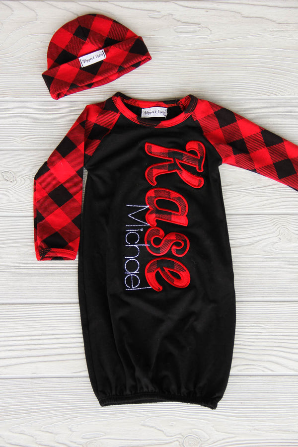 Boy's Buffalo Plaid Christmas Newborn Gown
