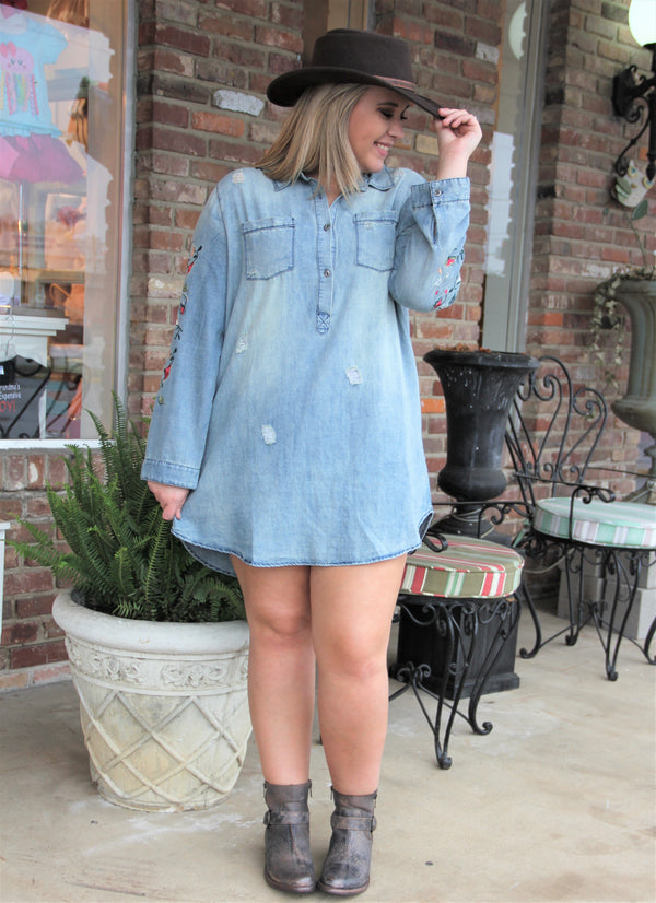 Floral Sleeve Embroidered Denim Tunic - Plus Size