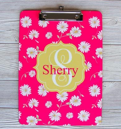 Flower Power Daisy Clipboard w/ Name 9x12.5