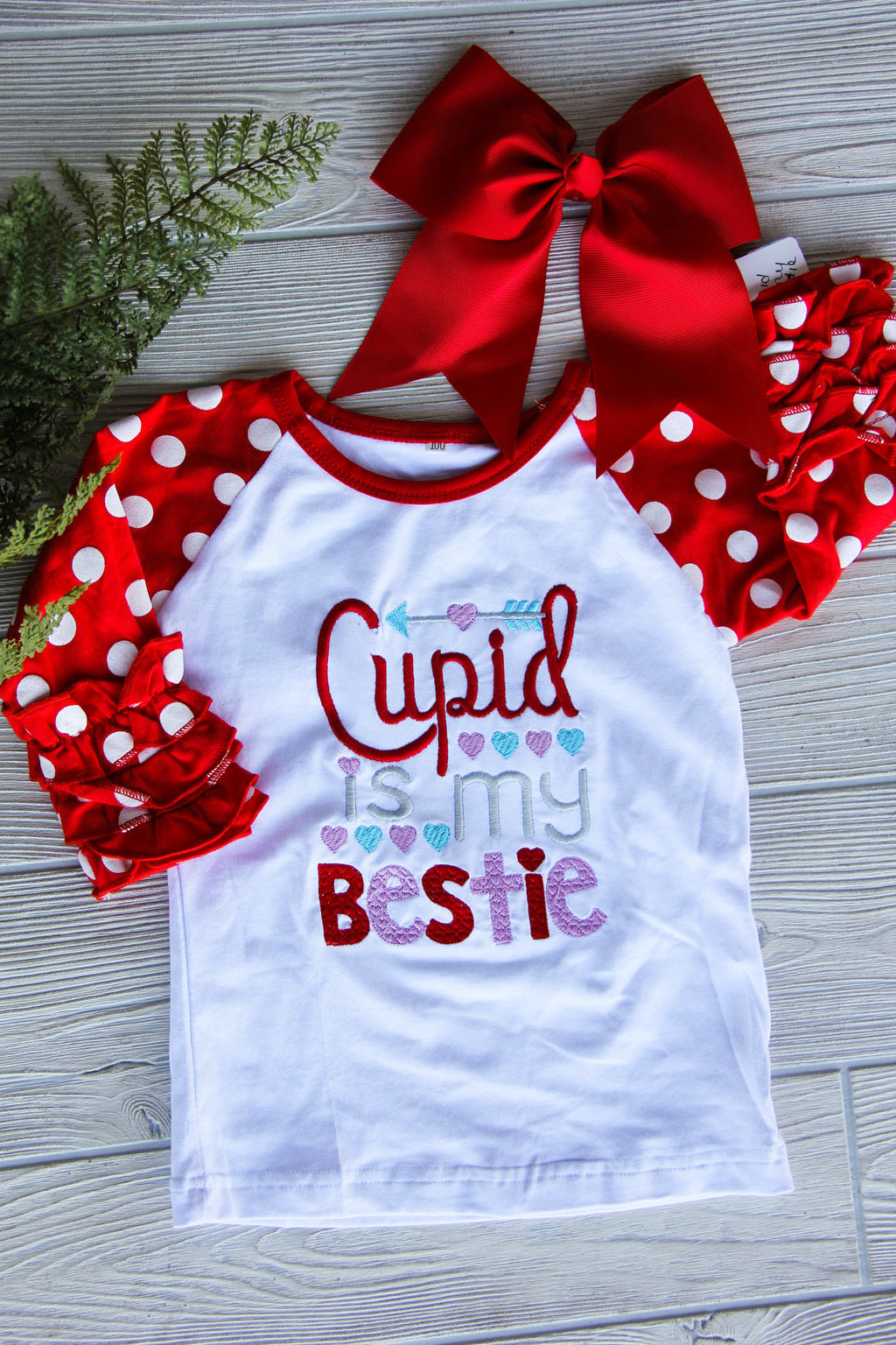 Cupid Is My Bestie Girl's Valentine Raglan Shirt Darling Custom Designs