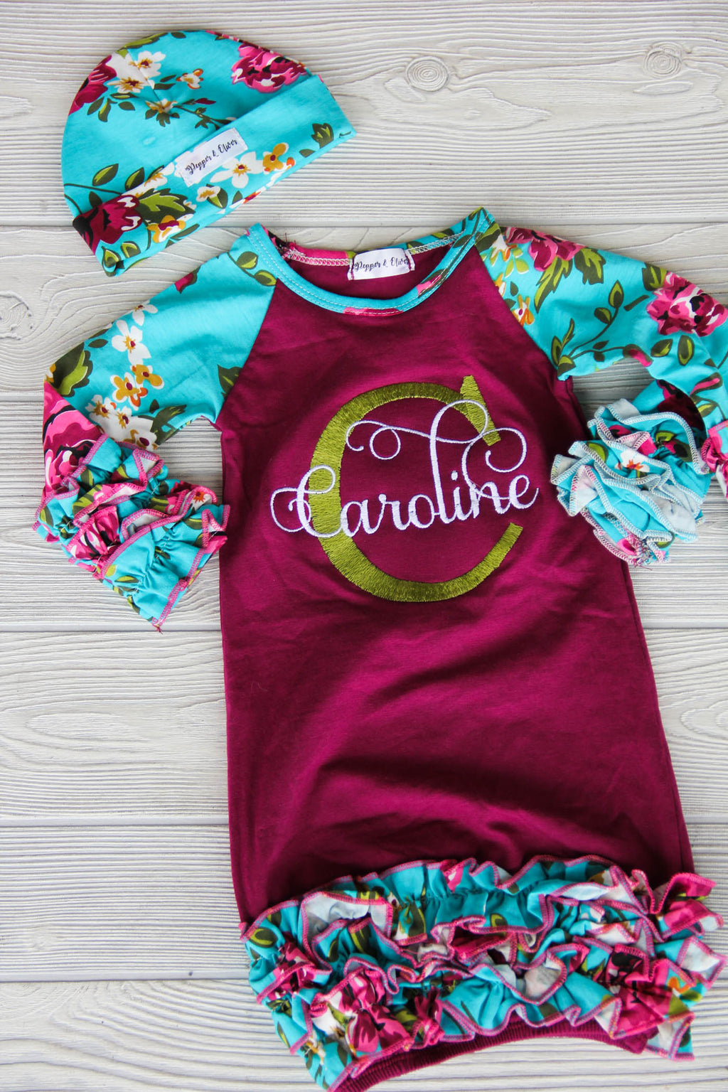 Floral Baby Gown w/ Name & Initial
