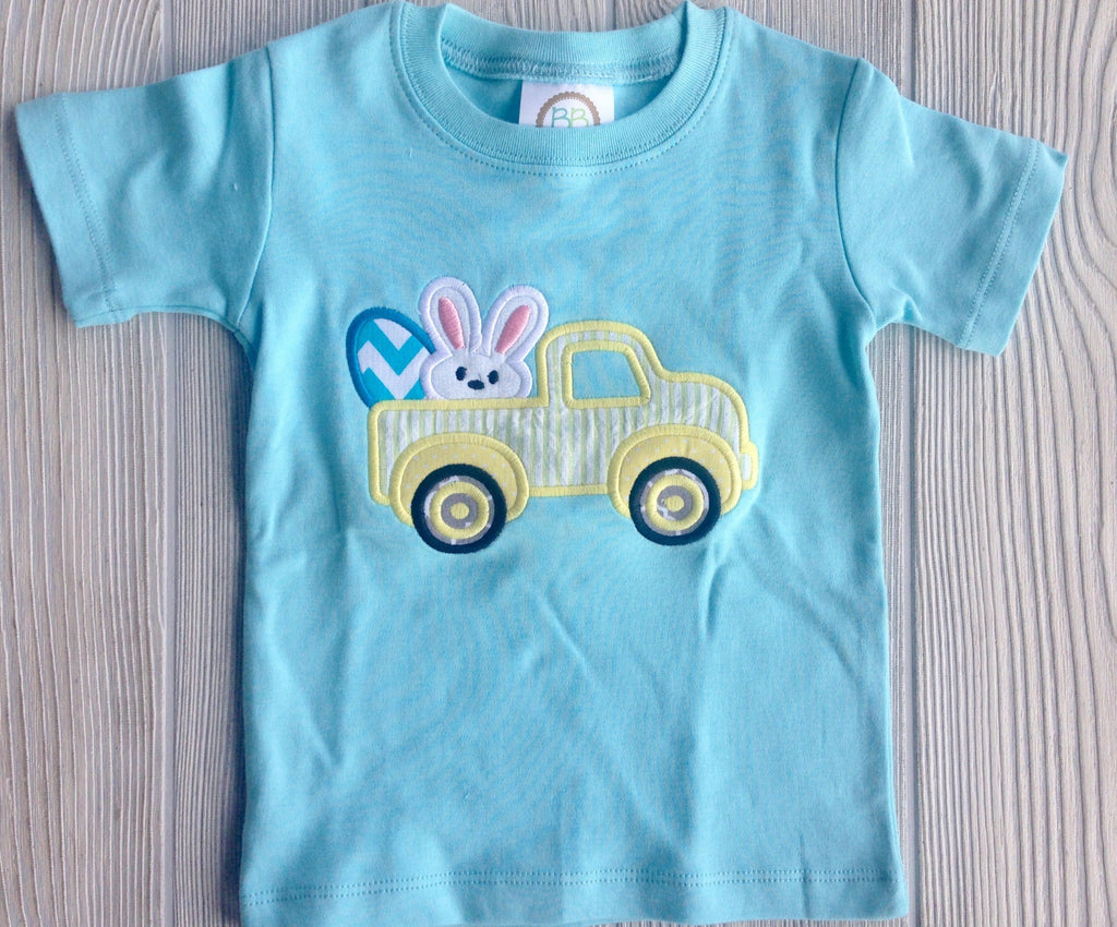 Boy's Easter Shirt - Easter Bunny Truck With Eggs Darling Custom Designs