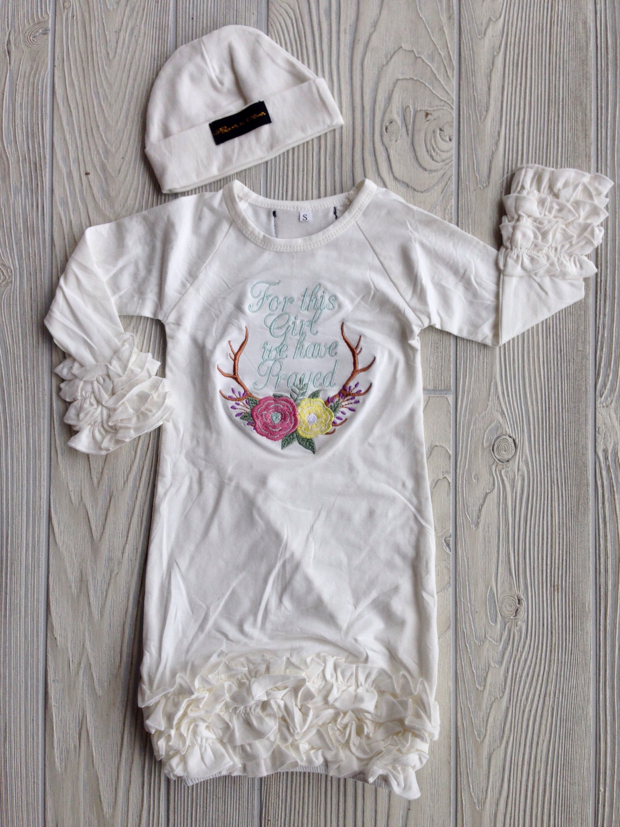 For this little Girl We Have Prayed - Newborn Gown – Darling Custom ...