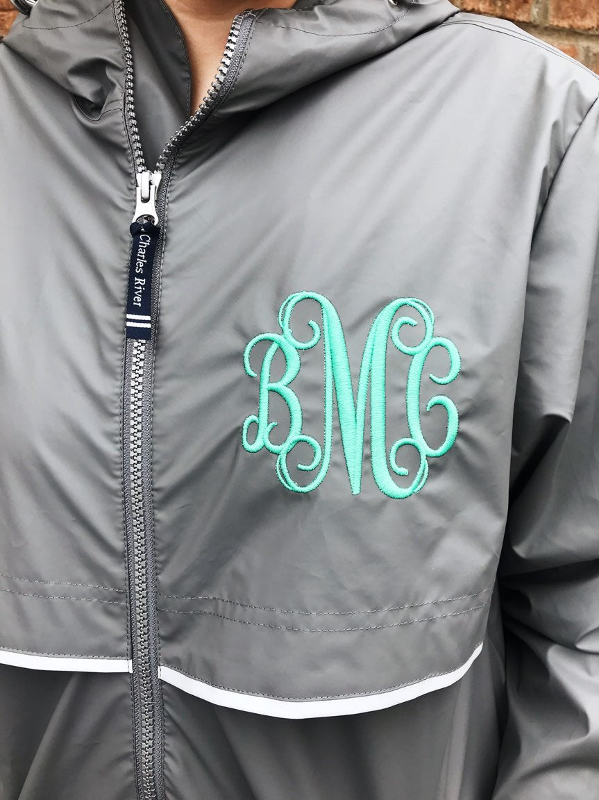 9d108b64bfd1 Charles River Rain Jacket w  Monogram- Spring Colors – Darling ...