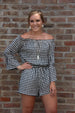 Mud Pie Camden Off-The-Shoulder Bell Sleeve Romper Black Gingham