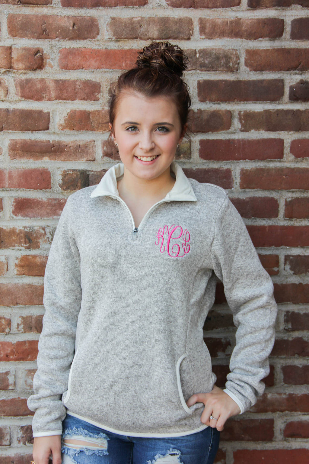 Women's Charles River Fleece Pullover w/ Monogram