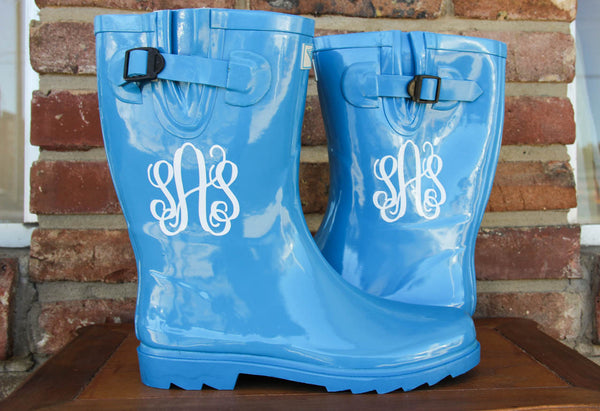 Blue Rainboot w/ Monogram