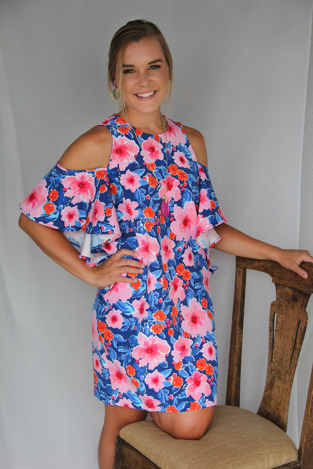 Mud Pie Birdie Cold Shoulder Ruffle Dress in Floral
