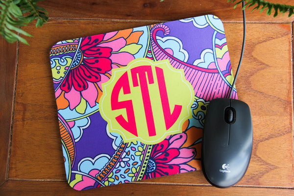 Lilly Pulitzer Inspired Mouse Pad w/ Monogram Darling Custom Designs
