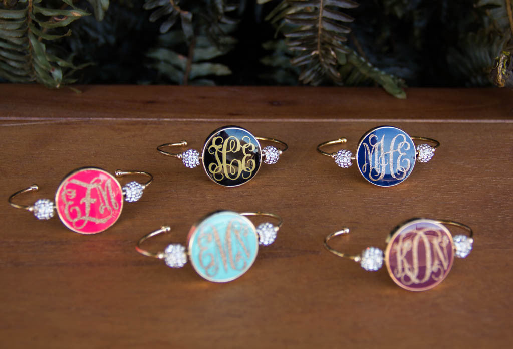 Enamel Disc Gold Bracelet with Monogram