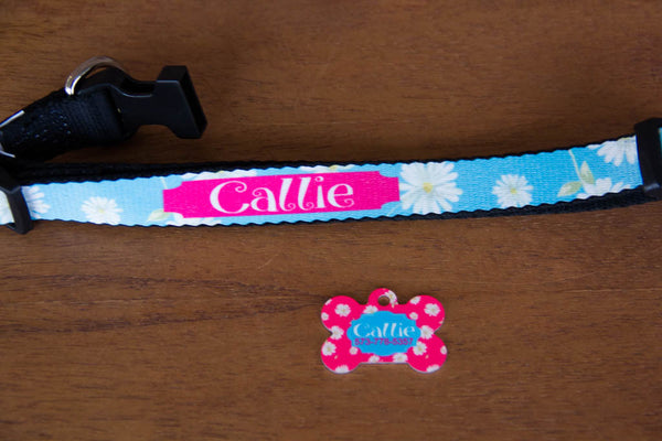 Lilly Pulitzer Inspired Dog Collar w/ Name (Collection 1)