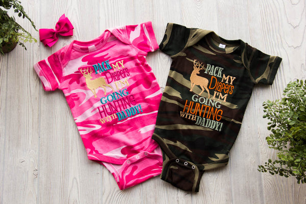 I'm going Hunting with Daddy Onesie - Twin Set Darling Custom Designs