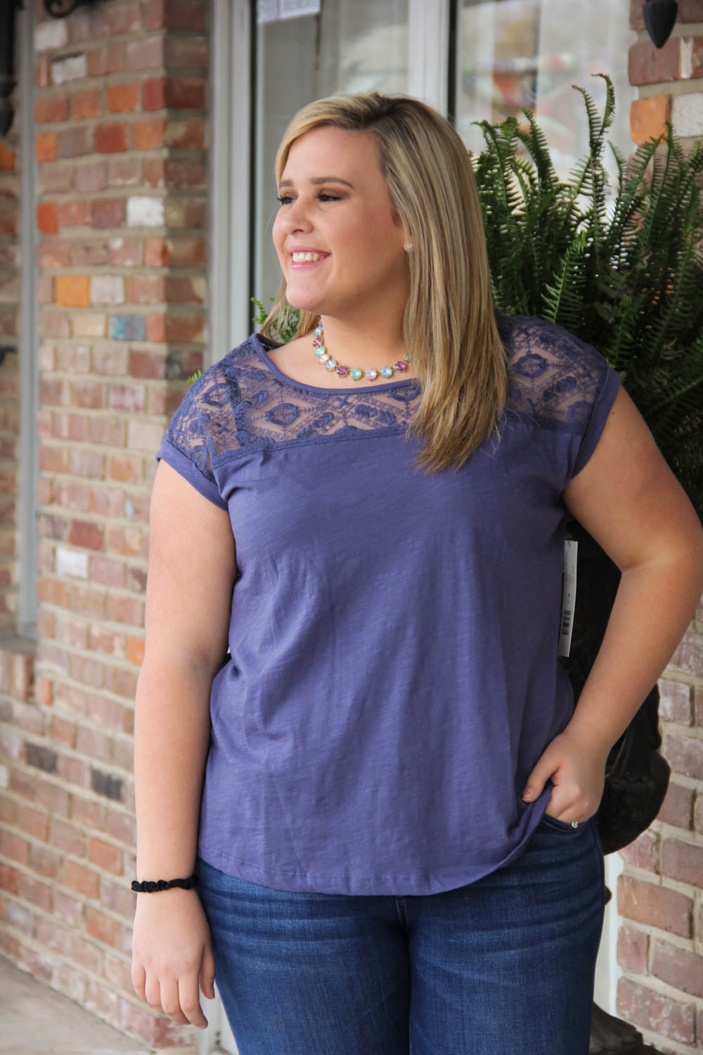 Nile Blue Cap Sleeve Blouse by Tribal Jeans