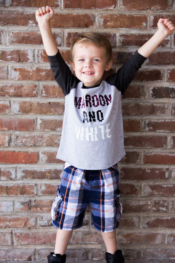 Maroon and White Poplar Bluff Mules Tee-Kids