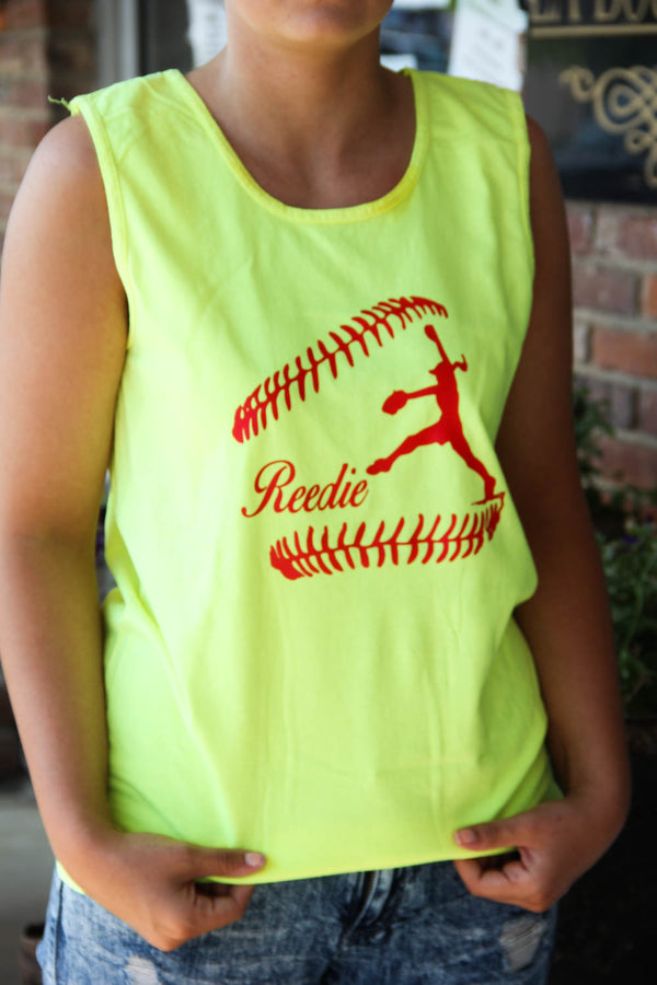 Neon Softball Tank w/ Name