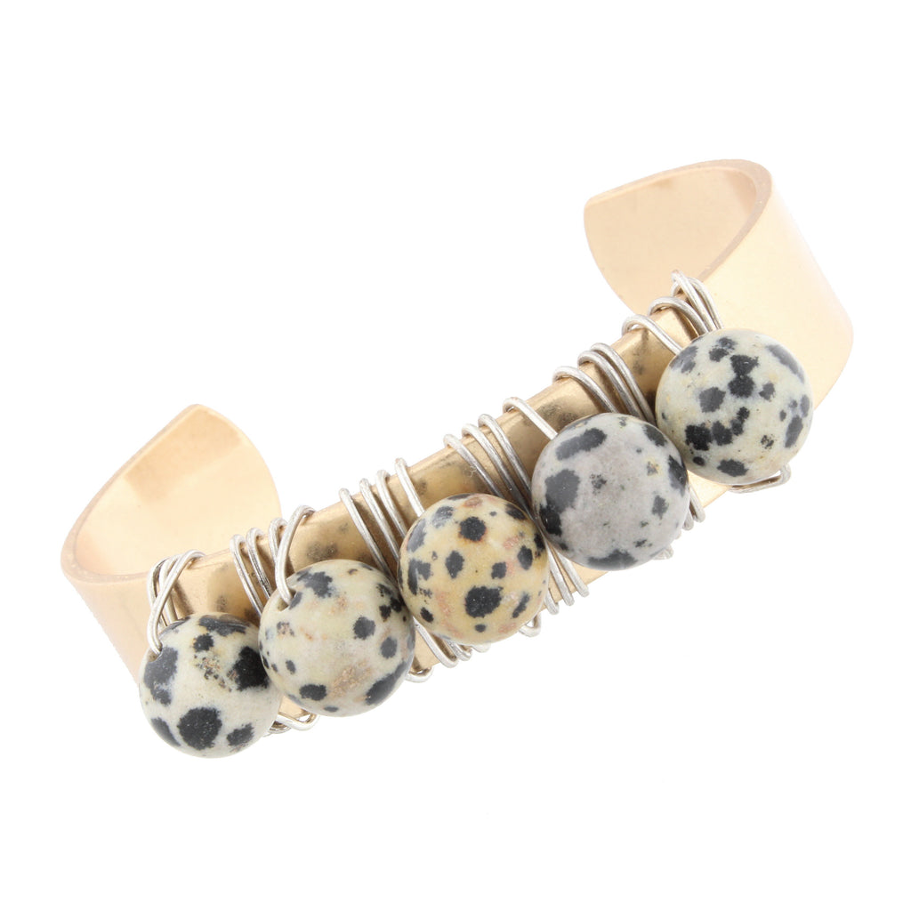 Gold Brass Dalmatian Natural Stones Cuff