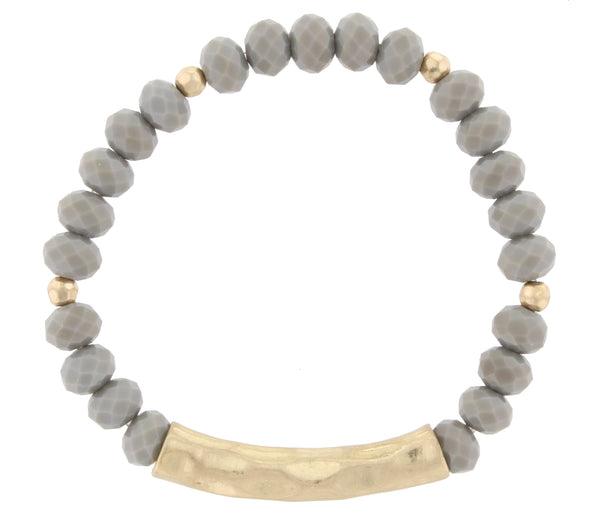 Grey Beaded Gold Bar Necklace by Jane Marie