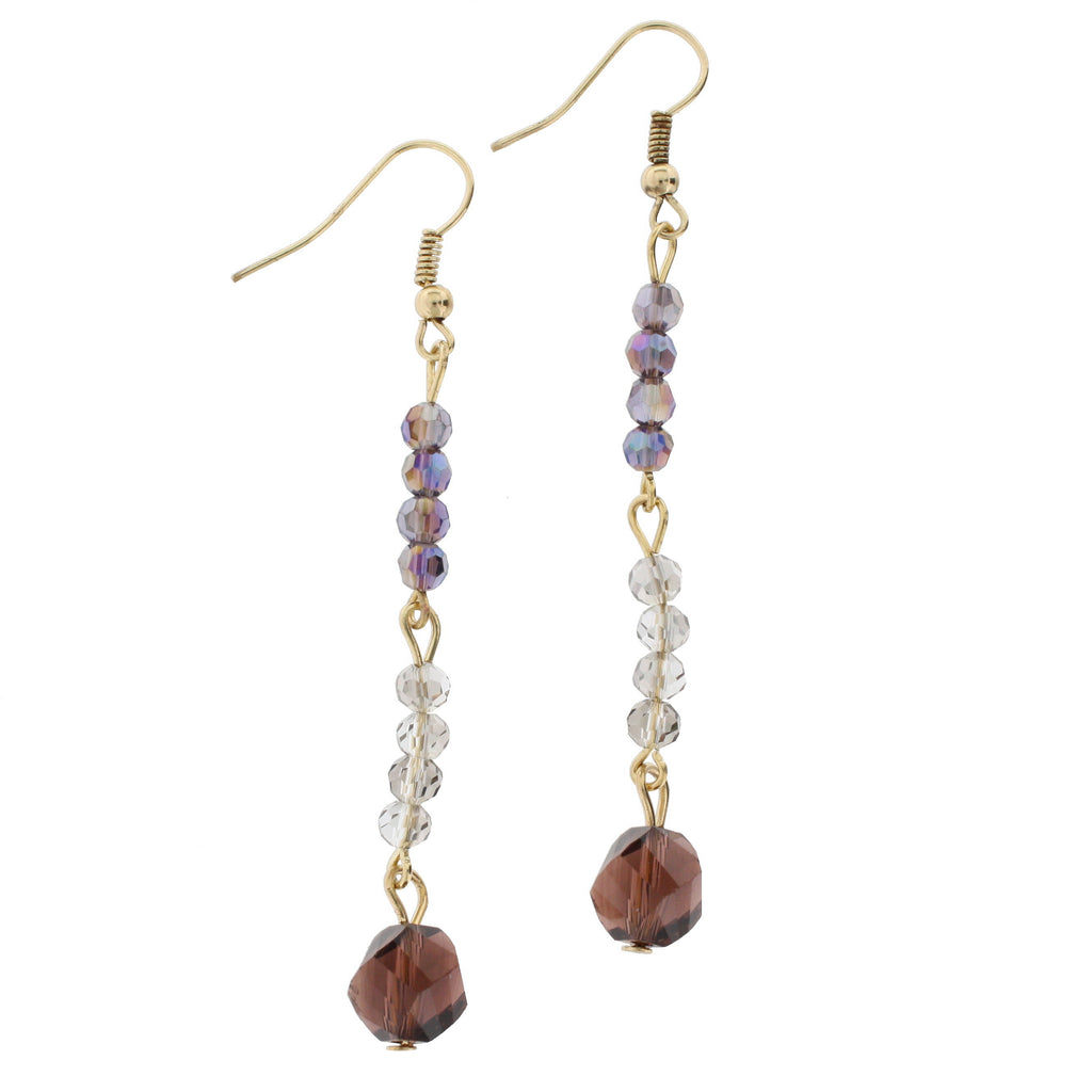 Gold & Purple Dangle Earrings