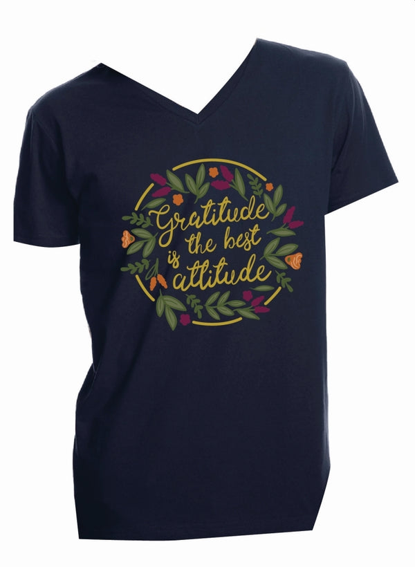 Jane Marie Gratitude is the Best Attitude V-Neck T-Shirt Navy JM2792T