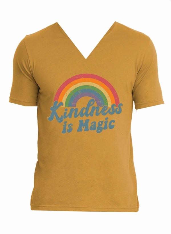 Jane Marie Kindness is Magic V-Neck T-Shirt Antique Gold JM2793T