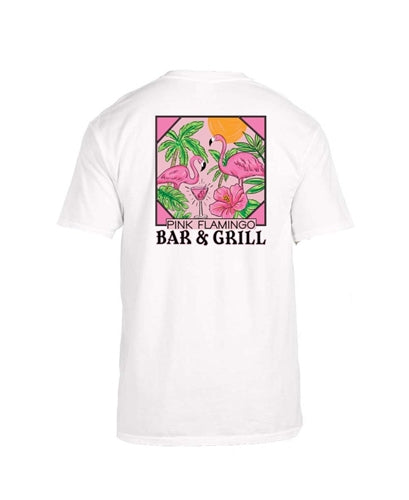 Jane Marie Pink Flamingo Bar & Grill T-Shirt White JM2926T