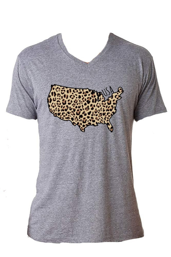 Jane Marie USA Leopard V-Neck T-Shirt JM2955T