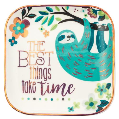 Karma Sloth Trinket Tray Large Ceramic