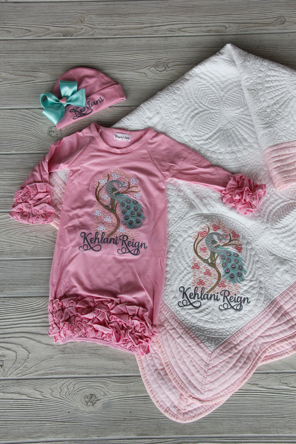 Peacock Newborn Gown & Quilt Keepsake Set