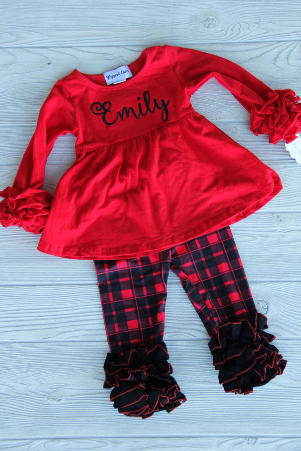 Buffalo Plaid Outfit Set w/ Name Darling Custom Designs Pepper & Oliver